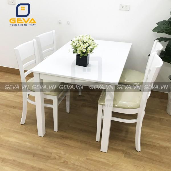 Bộ bàn ăn cabin 4 ghế màu trắng phù hợp với mọi căn bếp