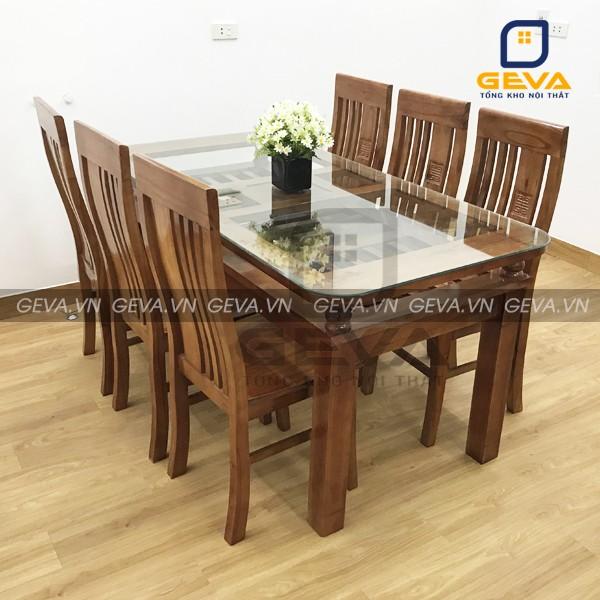 Bộ bàn ăn 6 ghế gỗ xoan mặt kính - BA09 thường được dùng cho đại gia đình