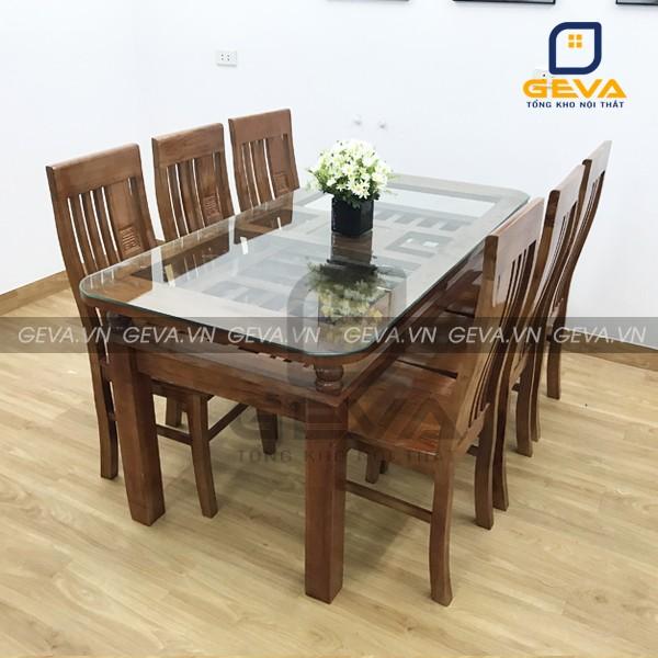 Bộ bàn ăn 6 ghế gỗ xoan mặt kính - BA09 sang trọng