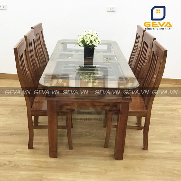 Bộ bàn ăn 6 ghế gỗ xoan mặt kính - BA09