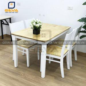 Bộ bàn ghế ăn cherry 4 ghế màu trắng