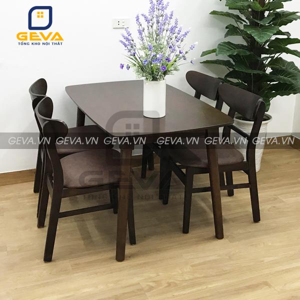 Bộ bàn ghế ăn mango 4 ghế màu nâu