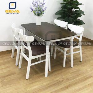 Bàn ăn mango 4 ghế trắng nâu