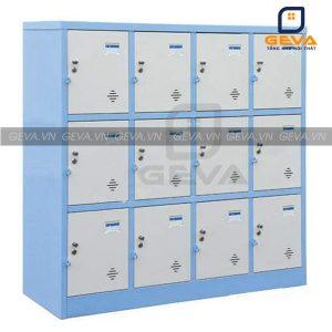 Tủ locker 12 ô màu ghi viền xanh