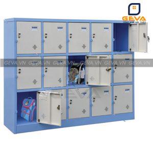 Tủ locker 15 ô màu ghi viền xanh