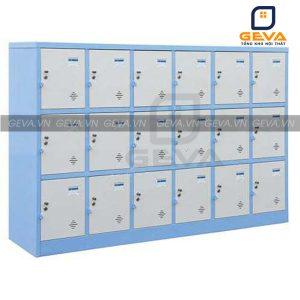 Tủ locker 18 ô ghi xanh lớn đựng đồ