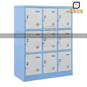 Tủ locker 9 ô màu ghi viền xanh đẹp