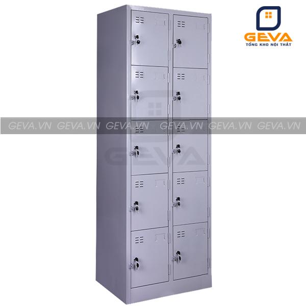Hình ảnh thực tế tủ sắt locker 10 ô khóa kéo