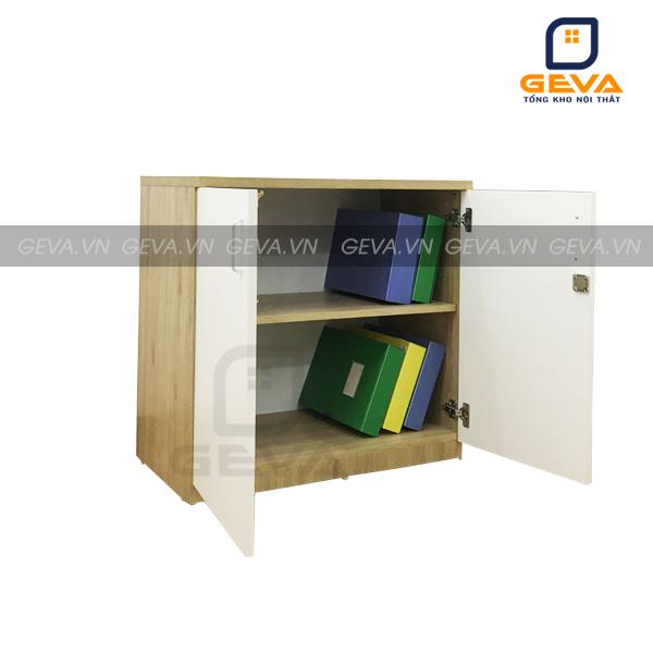 Tủ tài liệu thấp 2 cánh trắng viền vàng - TL12