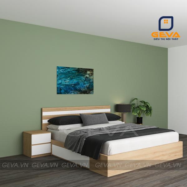 Giường kẻ trắng 2 ngăn kéo gỗ MDF 1m6 - GN15