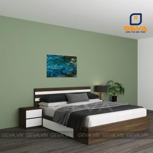 Giường ngủ kẻ trắng 2 ngăn kéo gỗ MDF 1m6 - GN16
