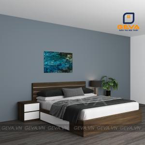 Giường gỗ nẹp inox 2 ngăn kéo - GN14