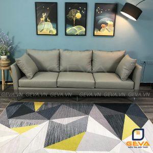 Sofa văng bọc da chia 3 ngồi màu ghi - SD19