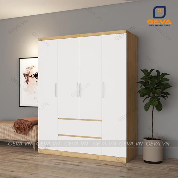 Tủ áo rộng 1m6 ngăn kéo nổi 4 cánh trắng - TA03