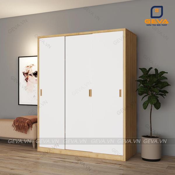 Tủ áo cửa lùa 3 cánh trắng 1m6 TA20 viền vàng hiện đại