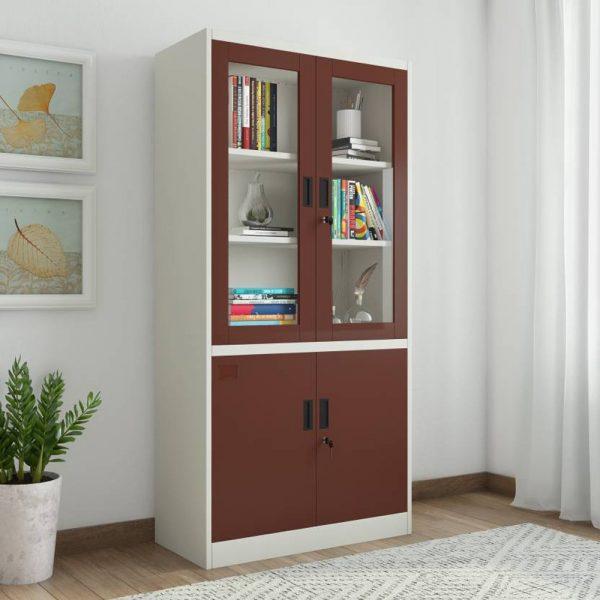 Tủ hồ sơ sơn màu nâu sang trọng giúp không gian thêm sinh động