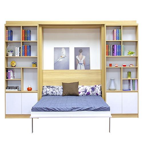 Kệ sách được tích hợp trong chiếc giường ngủ hiện đại.