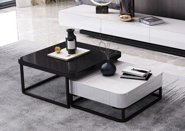 Bàn sofa mặt vuông đôi, chất liệu mặt làm làm bằng đá hoa cương