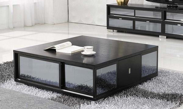 Bàn sofa mặt vuông đơn giản, có thể sử dụng mặt bàn chất liệu kính hoặc gỗ, đá hoa cương tùy thích.